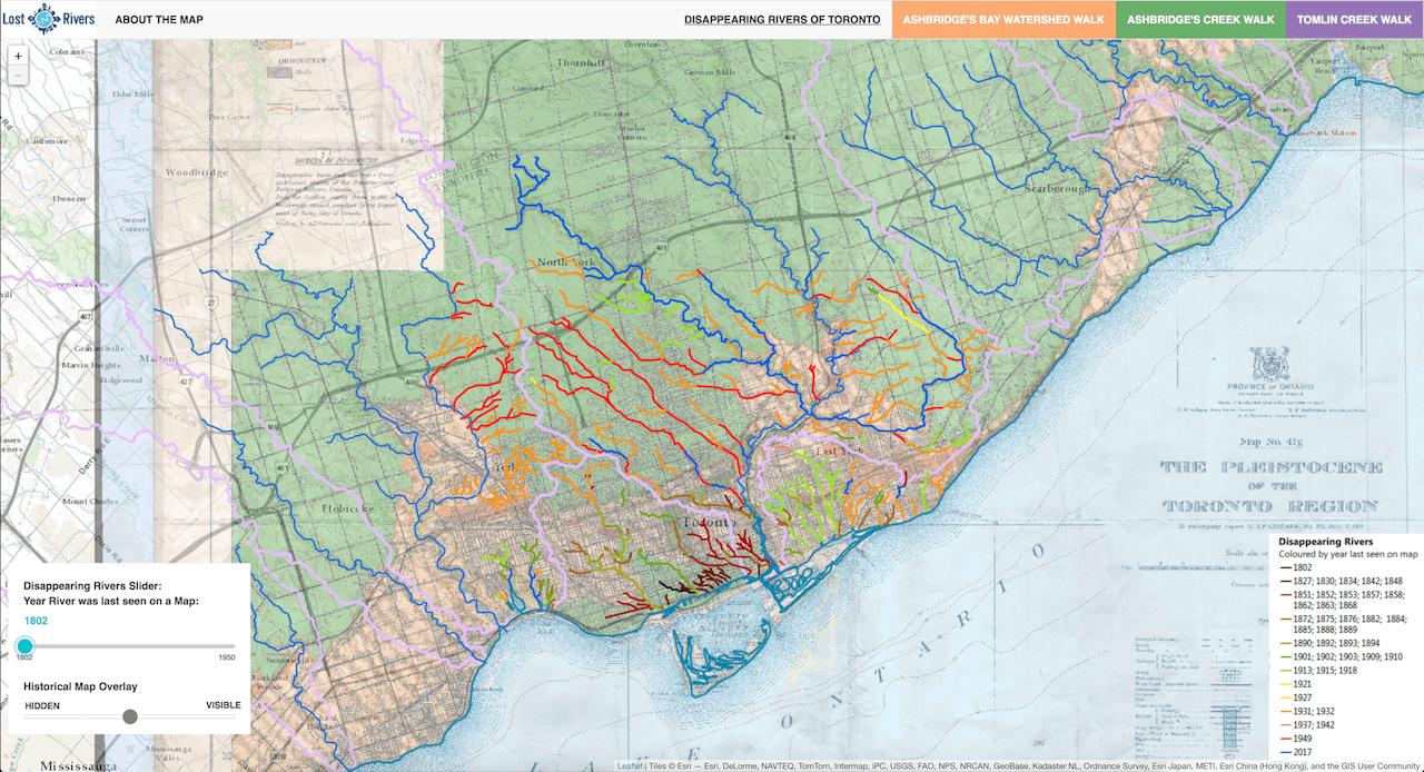 Maps Toronto.Toronto Lost Rivers Walking Maps